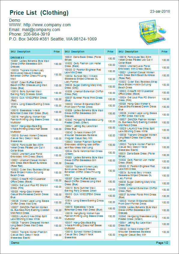 Examples of a common price list with  three columns