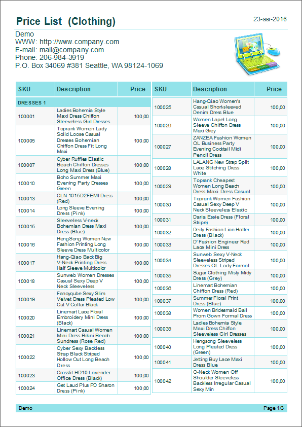 Examples Of A Common Price List With Columns