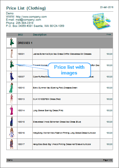 Price list with image example - 1 col.