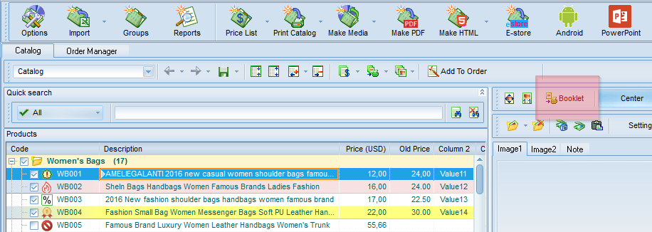 Click booklet button to select a sales sheet