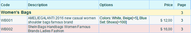 Example of options in contents in the separate column