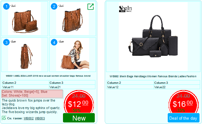 Example of options and attributes in the product catalog