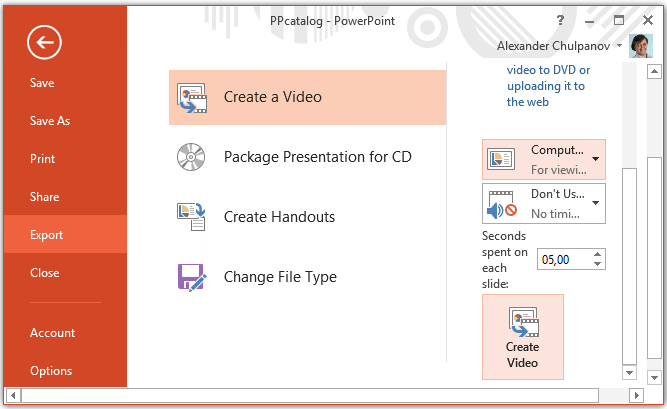 Saving catalog from PowerPoint to video file
