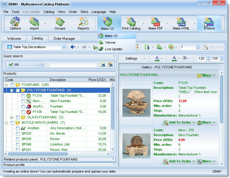 Screenshot of MyBusinessCatalog Platinum Ultimate