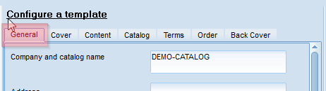 Catalog Template settings - general settings
