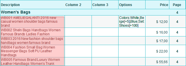 Glue Code and Description columns to one column in the price sheet