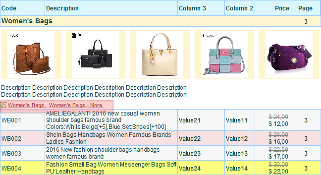 Links in the pricing software example