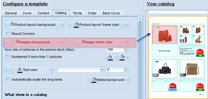 Product image(-s) backgrounf and frame colors in the template