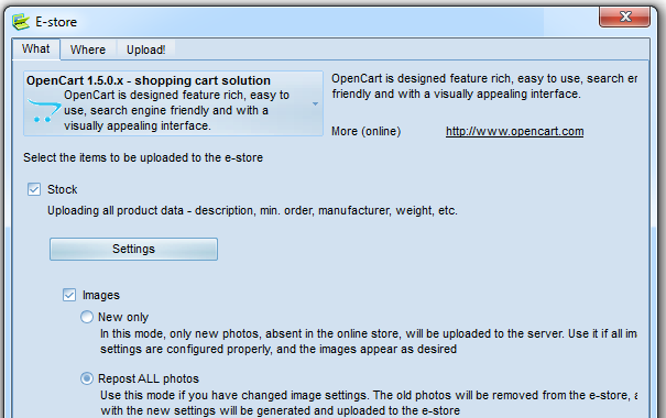 Online catalog - select eStore engine and settings