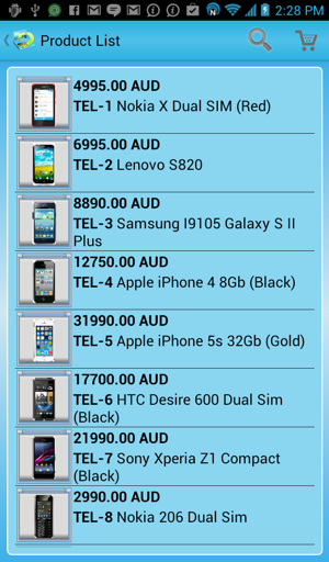 Android catalog -  blue style