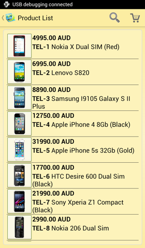 Android catalog - yellow style