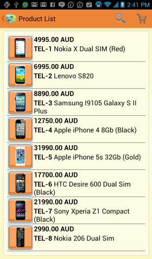 Android catalog - orange style