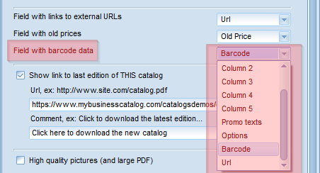 Select the bar code column in the Pdf catalog