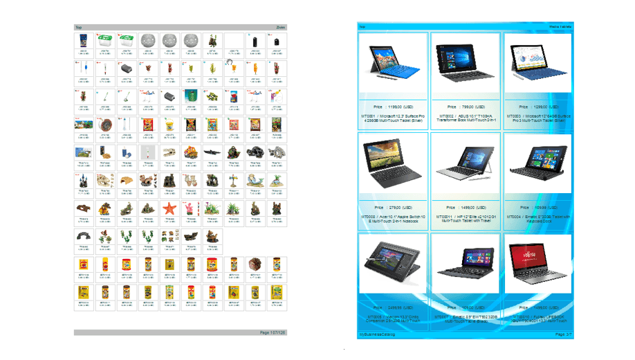 Create catalog software print pdf html android for Sample product catalogue template