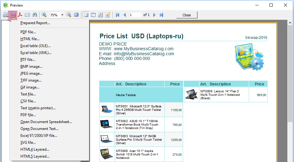 Creating the price list as an excel file, PDF or in the other format