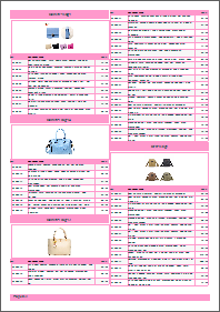 Price list template, pink theme