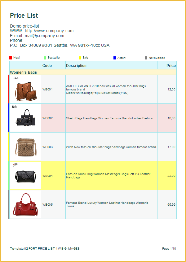 Price List Templates Review Of Free Catalog And Price Sheet Templates
