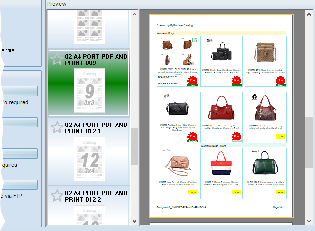Catalog template with nine products per page