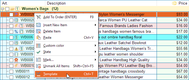 Select the template for product item
